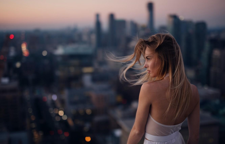 Photo wallpaper girl, the city, the wind, hair, bokeh, Jesse Duke, Maija