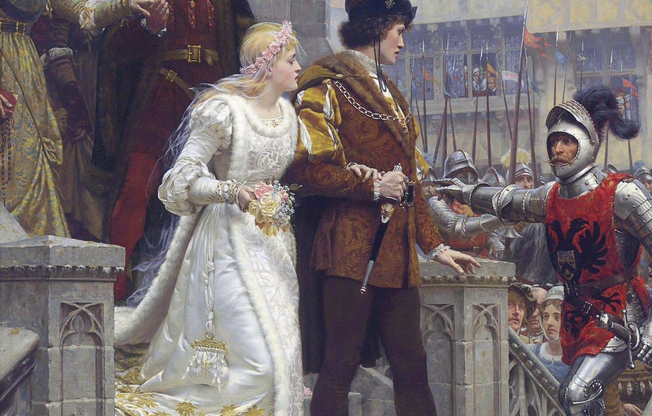Photo wallpaper castle, picture, sword, armor, sword, knight, the bride, armor, wedding, the groom, castle, Middle Ages, …