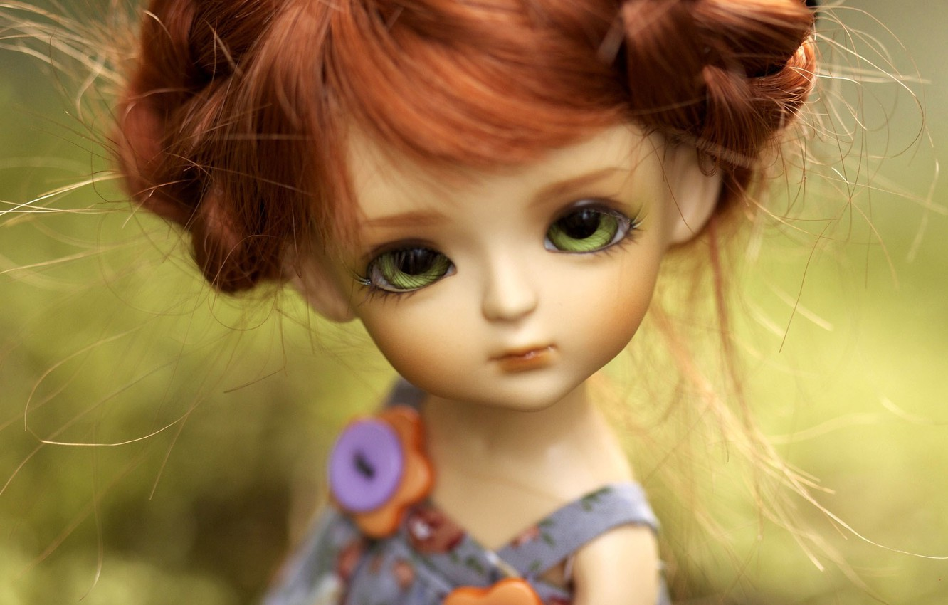 Photo wallpaper toy, doll, red, green-eyed