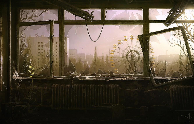Photo wallpaper the evening, window, carousel, Pripyat, Ukraine