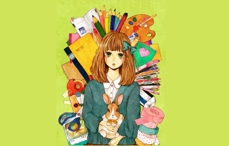 Photo wallpaper background, rabbit, girl, red, palette, bow, green eyes, scissors, stationery