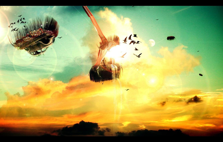Photo wallpaper flight, dreams, sunset, bright, glare, impression