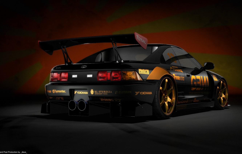 Photo wallpaper black, render, Japanese flag, Toyota mr2