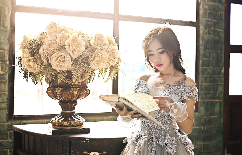 Photo wallpaper girl, flowers, book