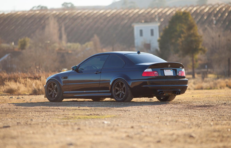 Photo wallpaper black, bmw, BMW, shadow, hangar, black, rear view, e46