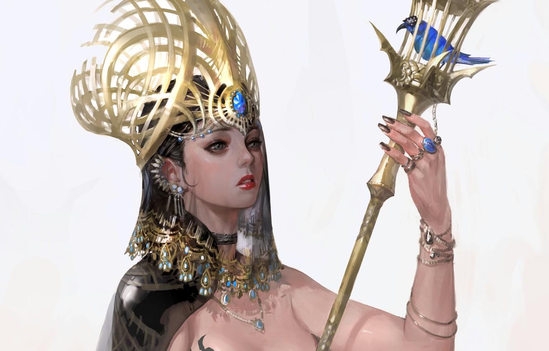 Photo wallpaper girl, bird, crown, blue, Queen, kratka