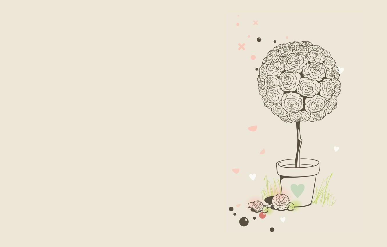 Wallpaper Grass Balls Flowers Roses Minimalism Vector Art