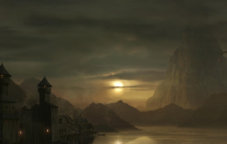 Photo wallpaper lake, dragon, art, the hobbit, Smaug, the esgorath, the lonely mountain, Arda