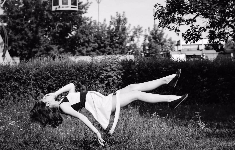 Photo wallpaper forest, white, girl, black, dress, shoes