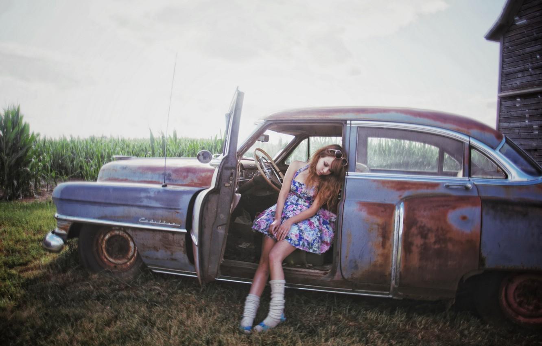 Photo wallpaper machine, girl, mood