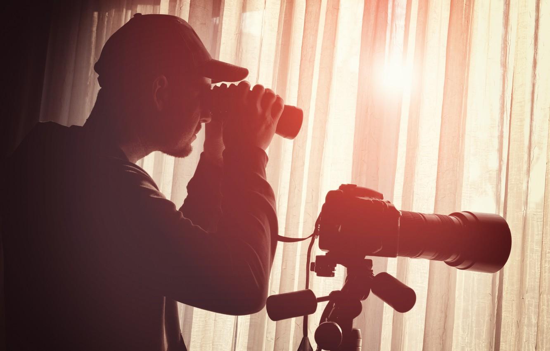 Photo wallpaper detective, equipment, binoculars, monitoring