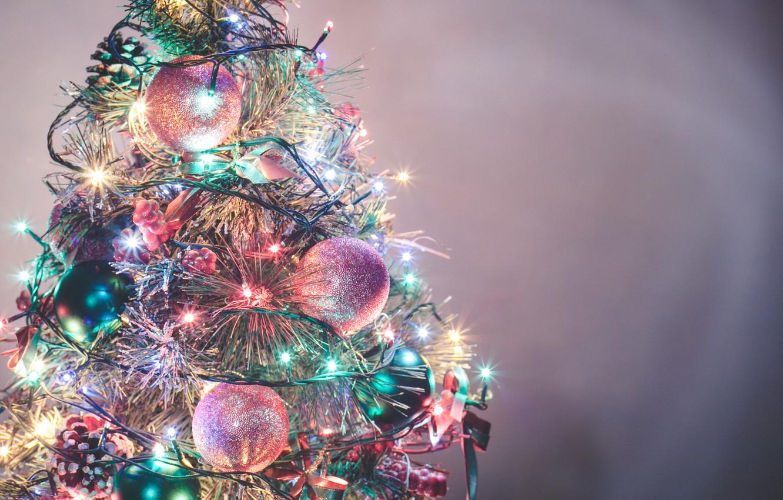 Photo wallpaper balls, tree, decoration, garland