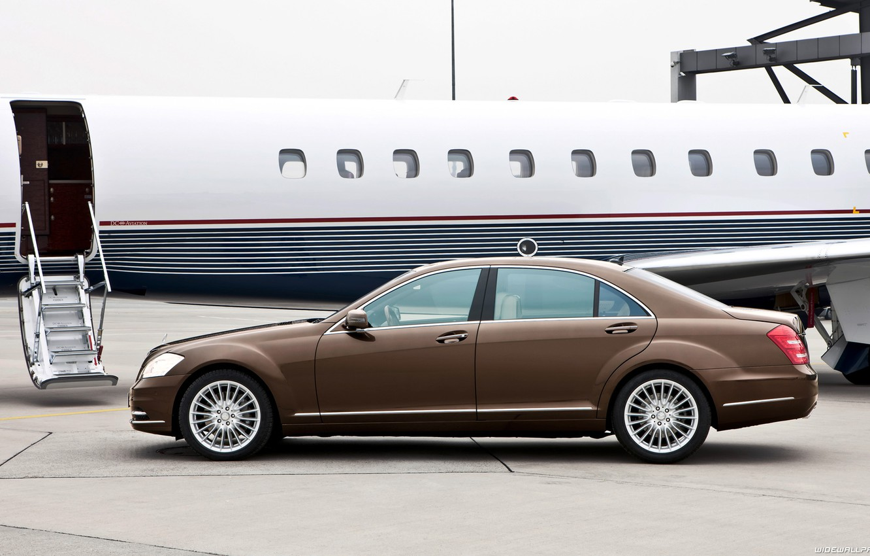 Photo wallpaper car, machine, Mercedes, plane, S-class, car and plane