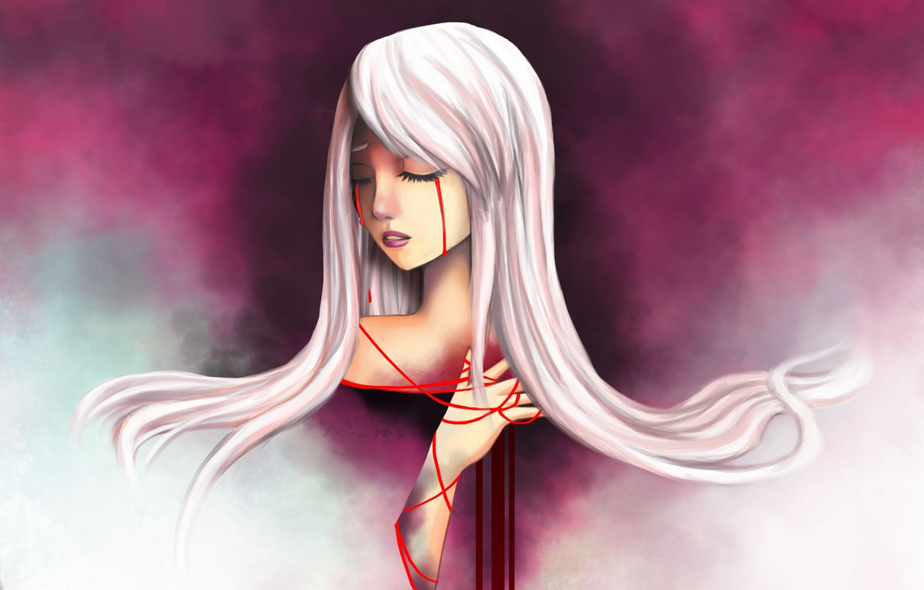 Photo wallpaper girl, tape, red, art, tears, white hair