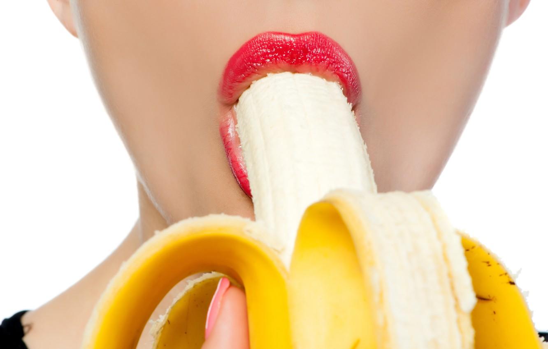 Photo wallpaper woman, fruit, lips, banana