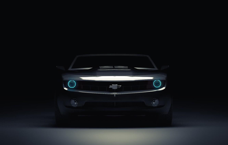 Photo wallpaper Chevrolet, Muscle, Light, Camaro, Lights, Car, Blue, Front, Blue, Before, Kar, Oil, 3D Graphics, by …
