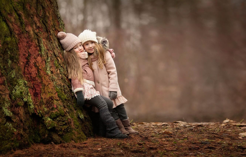 Photo wallpaper forest, joy, children, mood, girls, meeting, girlfriend