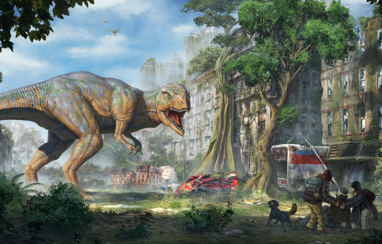 Photo wallpaper the city, people, fiction, dinosaur, art, ruins, T-Rex, Tyrannosaurus, rex