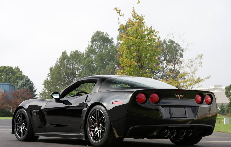 Photo wallpaper car, Corvette, Chevrolet, Chevrolet, black, back, Pratt & Miller, C6RS