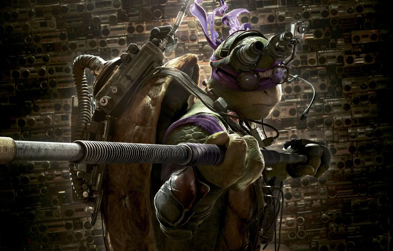 Photo wallpaper Action, Fantasy, Purple, Green, with, TMNT, Donatello, Teenage Mutant Ninja Turtles, Ninja, Weapons, Movie, Paramount …