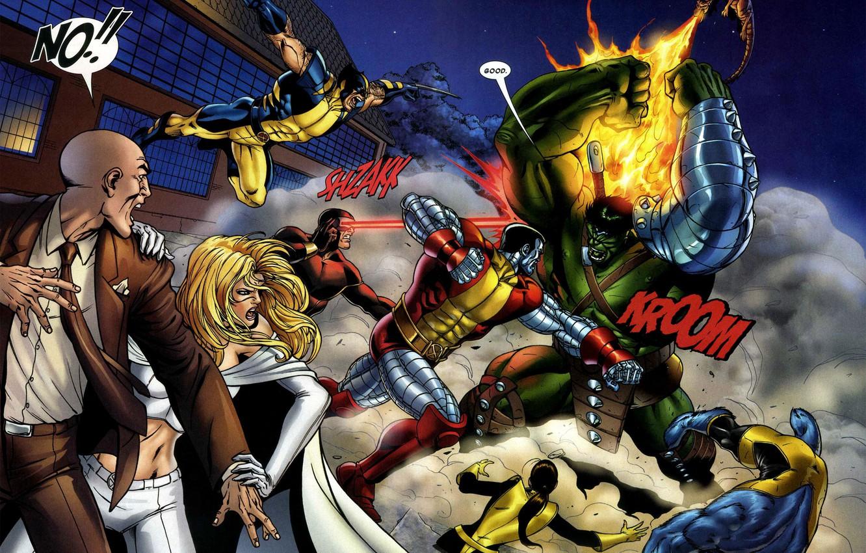 Wallpaper Battle X Men Wolverine Marvel Comic Comics Emma Frost Hulk Professor X Cyclops Beast Colossus X Men Images For Desktop Section Fantastika Download