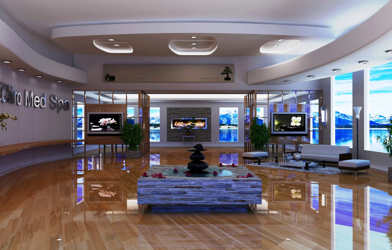 Photo wallpaper sofa, chairs, fountain, fireplace, hall, TV, table.