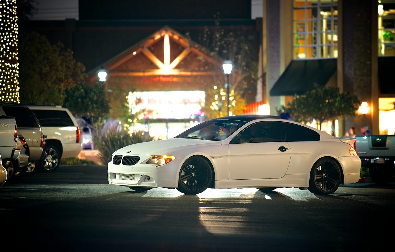 Photo wallpaper white, black, street, bmw, BMW, white, drives, side view, cars, e63