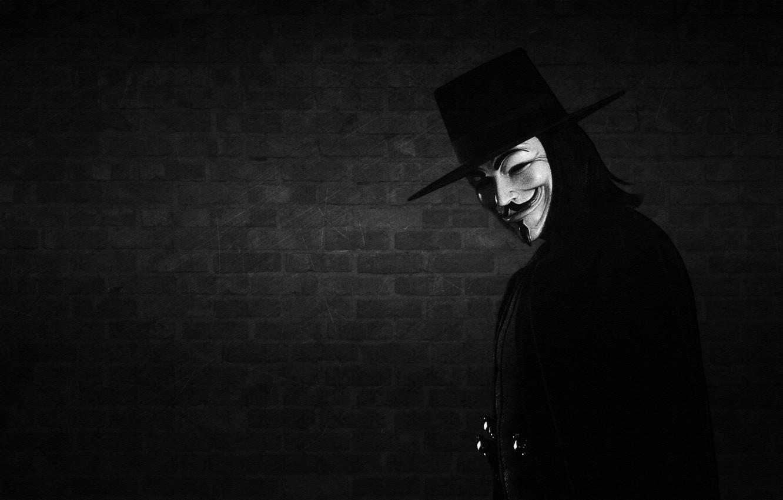 Photo wallpaper smile, wall, mask, black-and-white background, V for Vendetta, Anonymous, V for vendetta