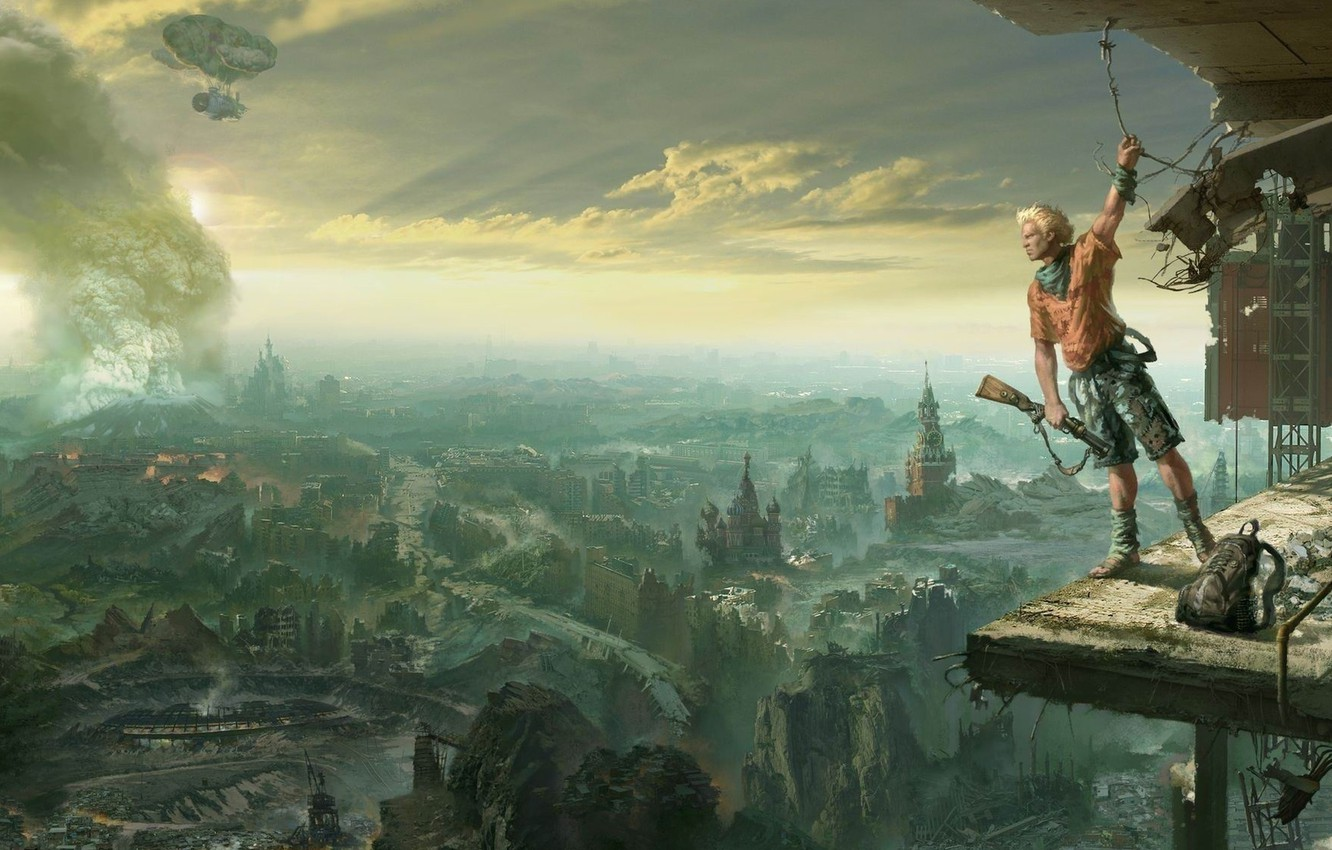Photo wallpaper Moscow, ruins, postapocalyptic