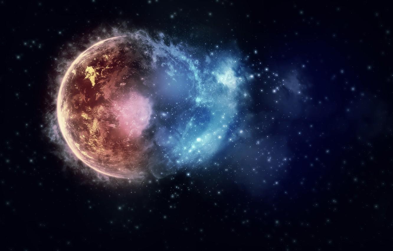 Photo wallpaper space, stars, the explosion, lights, lights, paint, planet, colors, space, stars, planets, 2560x1600, burst