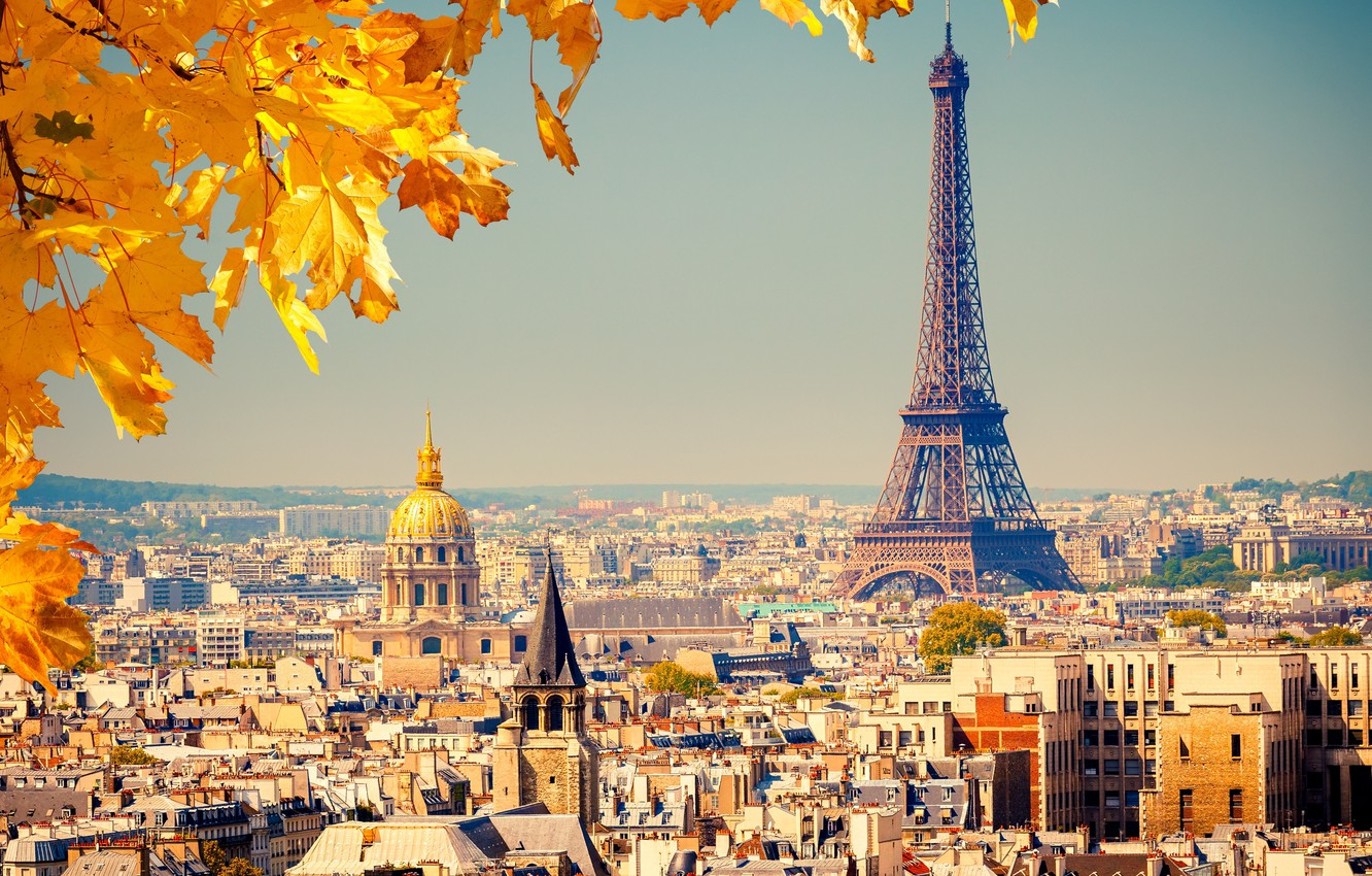 Photo wallpaper autumn, leaves, the city, background, France, Paris, view, building, home, yellow, roof, panorama, Eiffel tower, ...