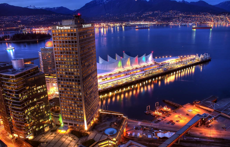 Photo wallpaper sea, mountains, the city, Marina, home, the evening, Vancouver
