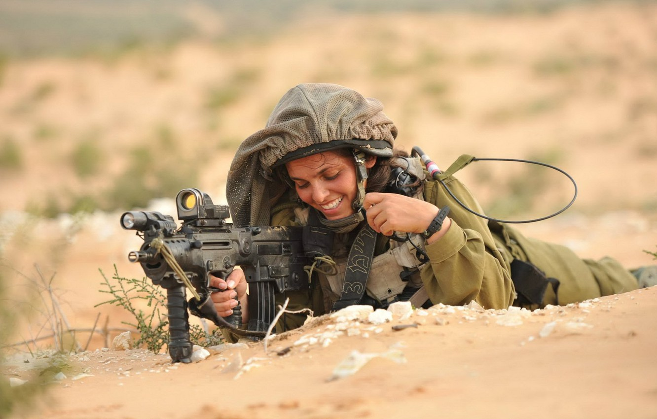 Photo wallpaper girl, weapons, soldiers, Israeli Defence Force