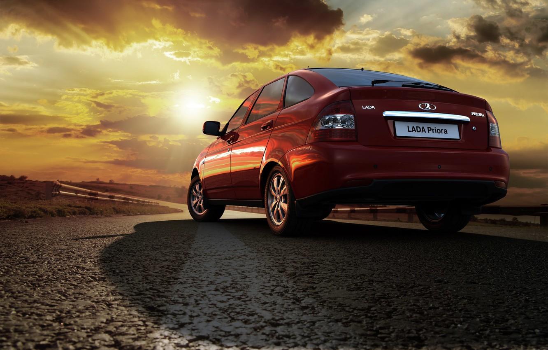 Photo wallpaper background, Wallpaper, car, red, Lada, hatchback, Lada, prior, Priora, the flagship