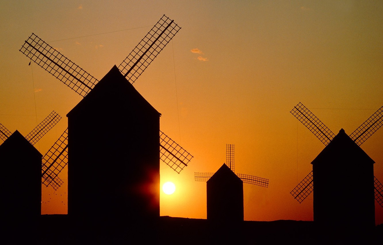 Photo wallpaper the sky, the sun, landscape, sunset, silhouette, mill