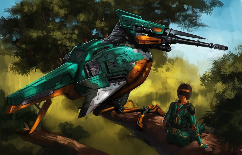 Photo wallpaper girl, bird, robot, sniper, Kingfisher