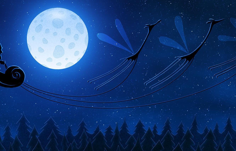 Photo wallpaper the moon, new year, giraffes