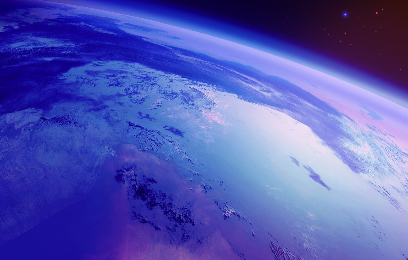 Photo wallpaper space, earth, planet