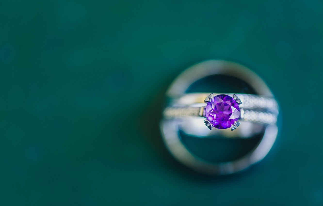 Photo wallpaper purple, lilac, stone, ring