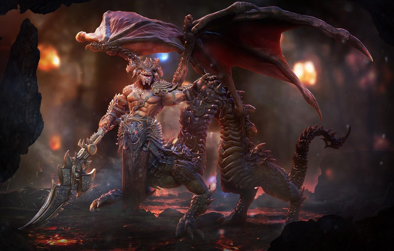 Photo wallpaper dragon, wings, sword, the demon, tail, lava, cave, art, Lord Sorrow