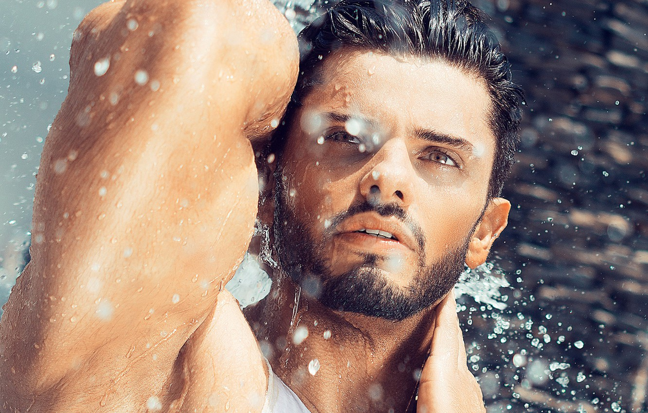 Photo wallpaper look, water, drops, squirt, hand, male, brunette