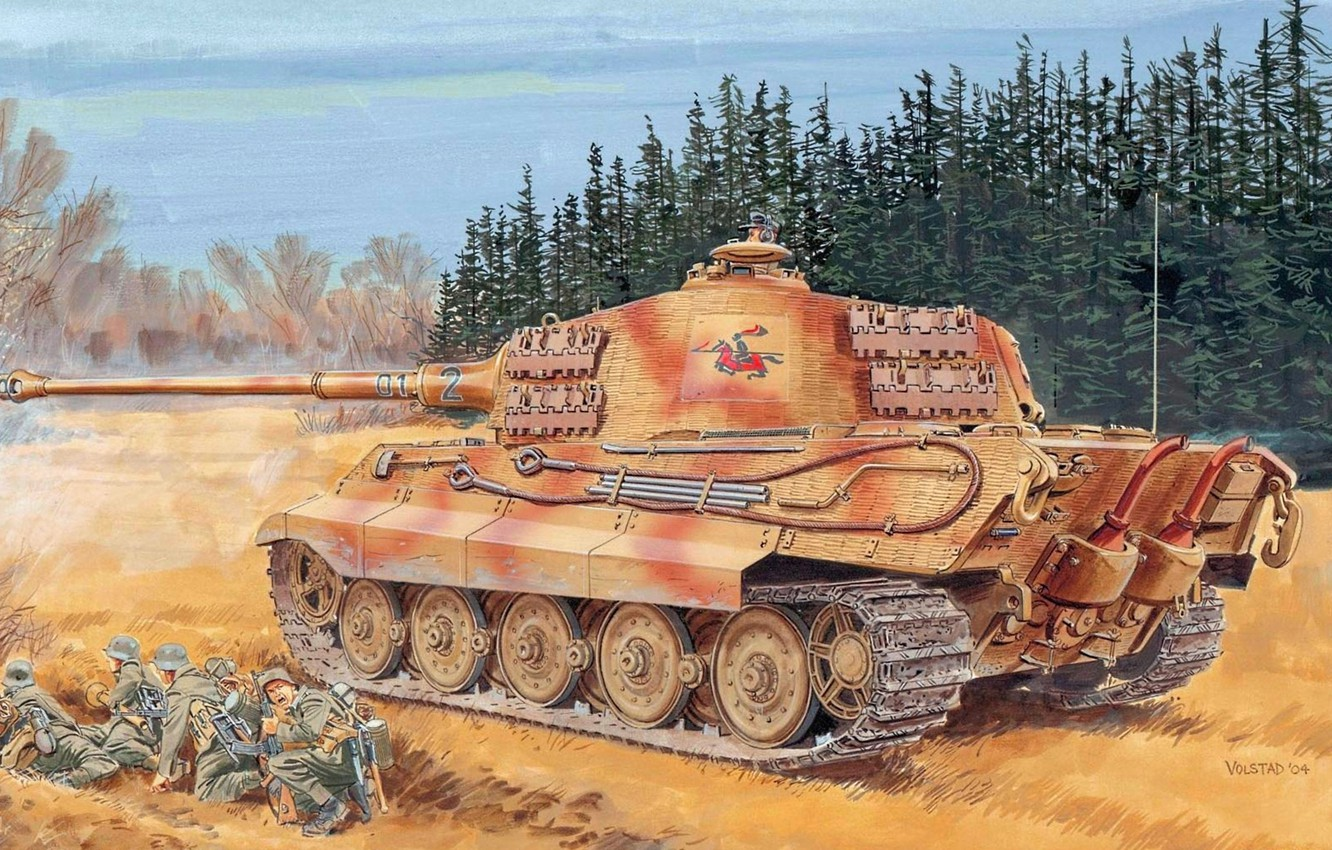Photo wallpaper figure, the second world, the Germans, the Wehrmacht, heavy tank, Ron Volstad, Royal tiger, Tiger …