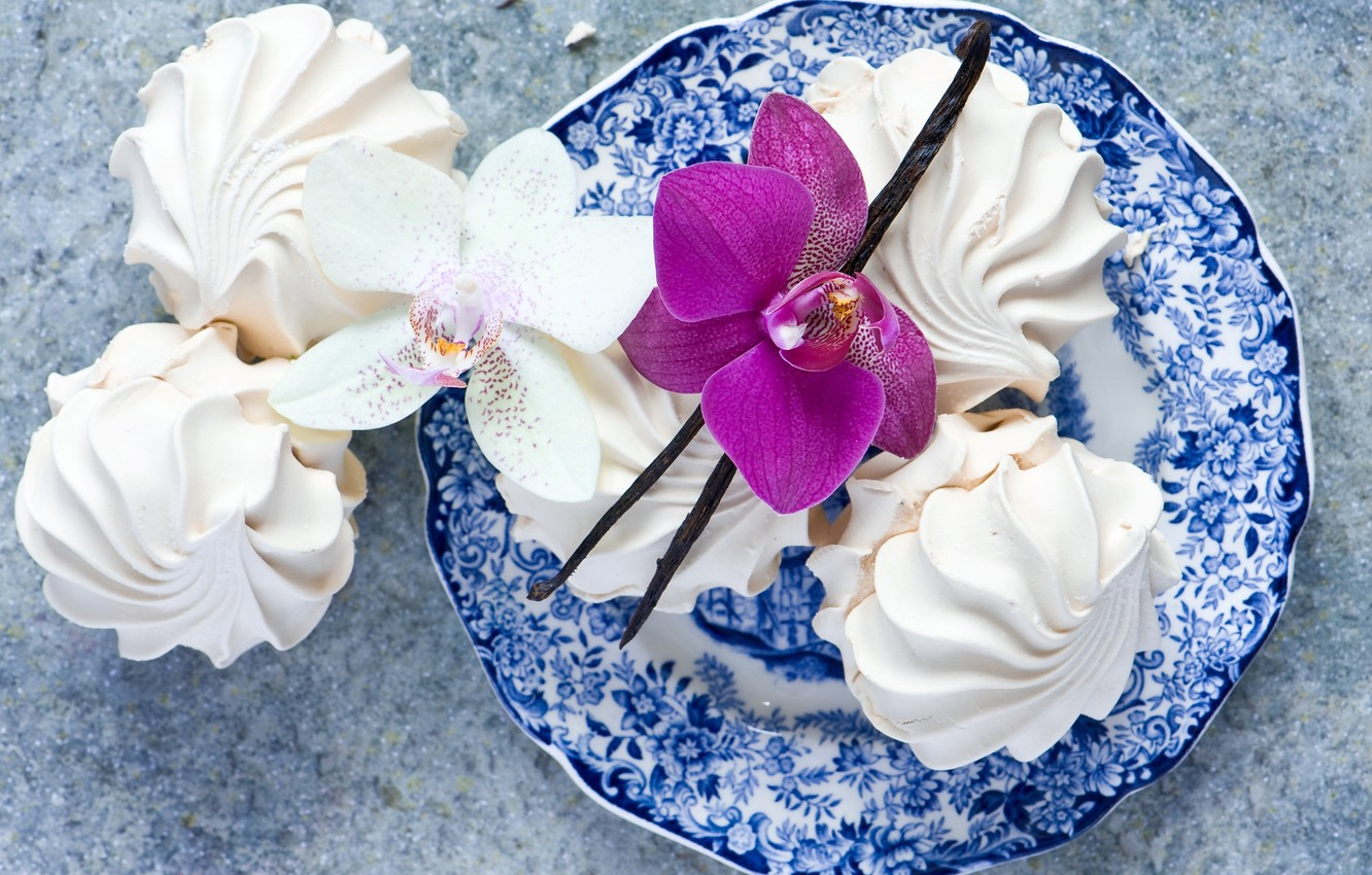 Photo wallpaper white, flower, pink, food, plate, sweets, dessert, Orchid, vanilla, marshmallows