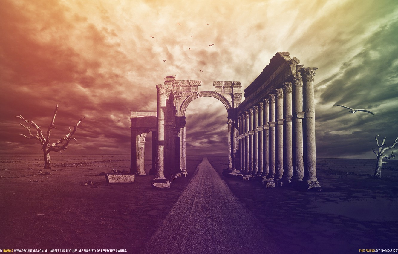 Photo wallpaper the sky, void, color, trees, birds, the wind, columns, ruins, wilderness, The Ruins