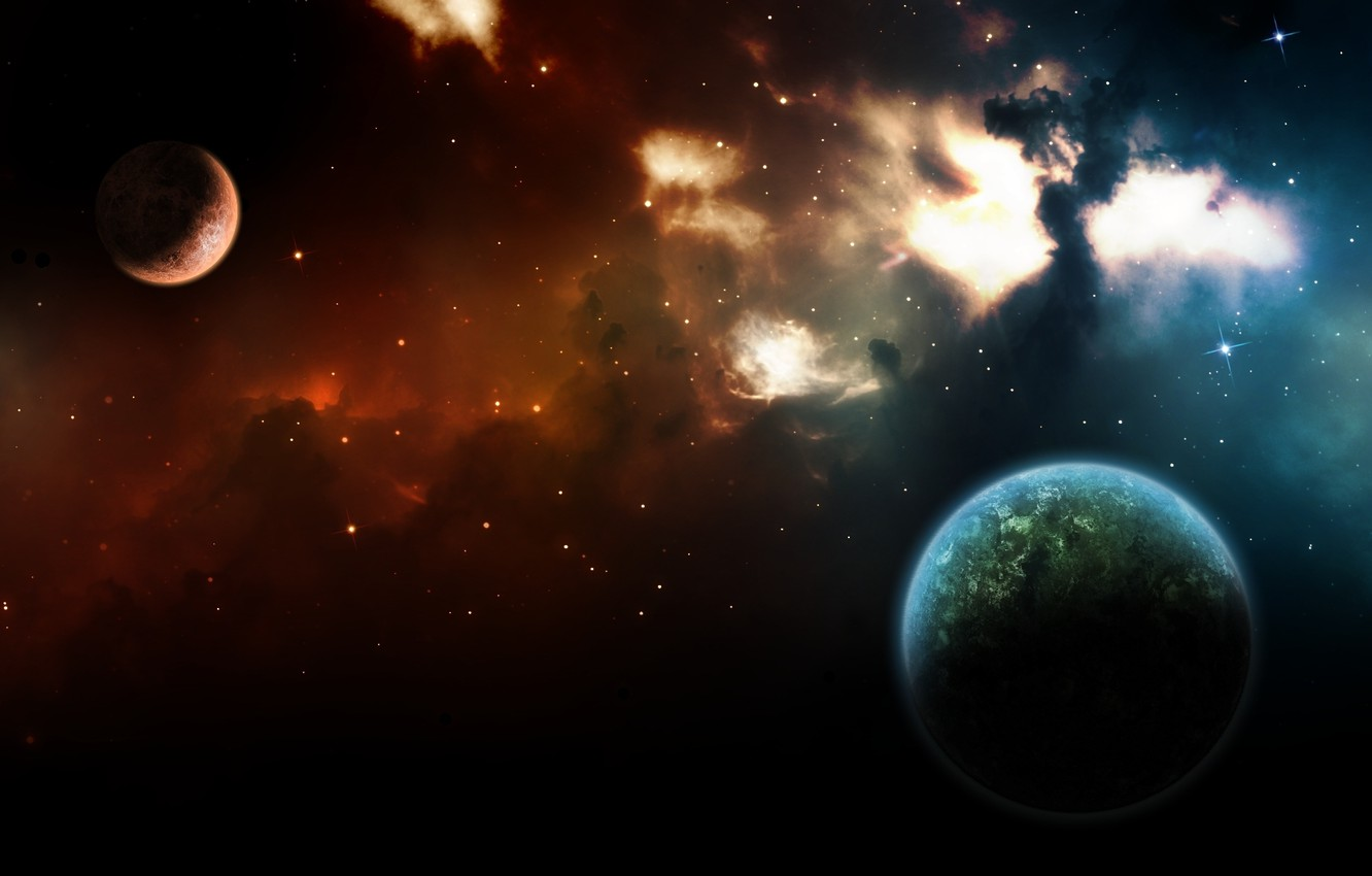Photo wallpaper color, space, light, nebula, the universe, planet, stars