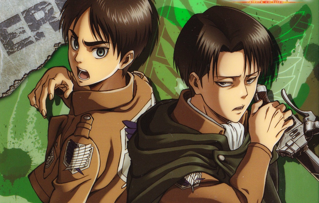 Wallpaper Emblem Cloak Two Military Uniform Shingeki No Kyojin Eren Yeager The Invasion Of The Giants Levi Ackerman Art Hajime Isayama Images For Desktop Section Syonen Download