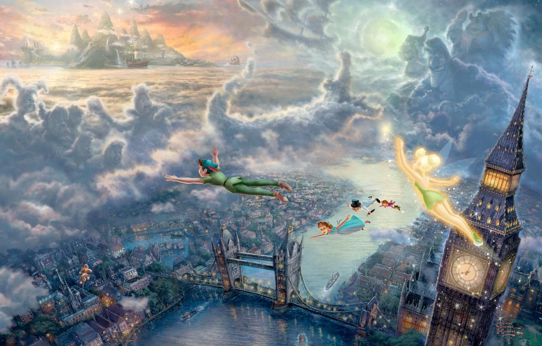 Photo wallpaper sea, clouds, sunset, bridge, children, the city, lights, castle, watch, London, tale, ships, fairy, art, …