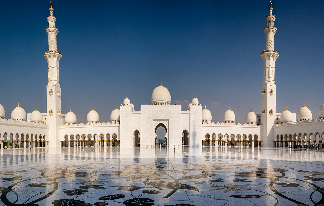 Wallpaper Abu Dhabi, UAE, The Sheikh Zayed Grand mosque, Grand mosque images for desktop, section город - download
