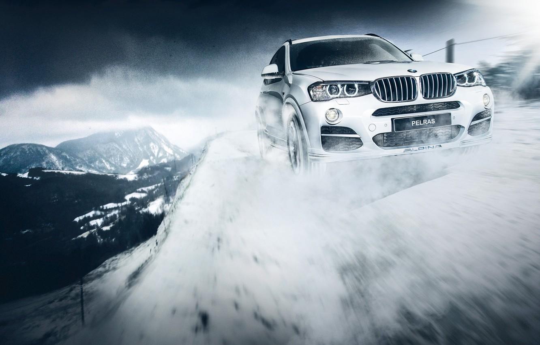 Photo wallpaper BMW, Snow, White, Rigshot, Alpina, Bi-Turbo, XD3