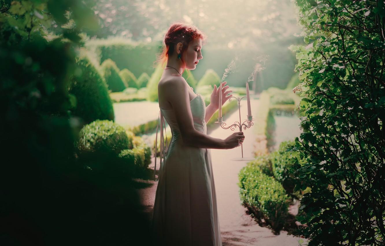 Photo wallpaper smoke, candles, dress, profile, Hidden garden, Fanny Moreaux